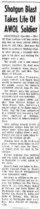 News Clipping: Ronnie Baker's Death. Click to Enlarge.